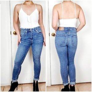 H & M DENIM SKINNY ANKLE HIGH WAIST JEAN SZ 28